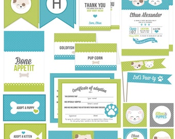 Lime Green and Teal Kitten & Puppy Party Collection - Boy or Girl - Birthday Invitations, Favor Tags, Banner, Adoption certificate,