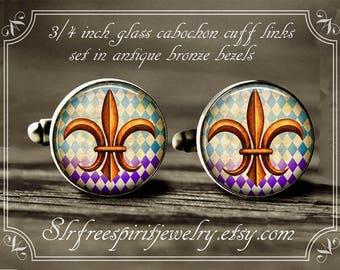 Fleur de Lis Cuff Links, Mardi Gras Cuff Links, New Orleans Symbol, Mardi Gras Accessory for men, Mardi Gras Jewelry