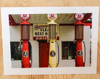 Route 66 Photo Card. Route 66 Photography. Old Service Station. Classic Gas Pumps. Marathon Gas. Old Gas Station Photography.