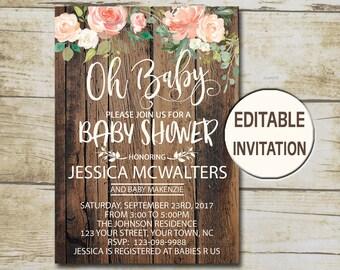 Rustic Baby Shower Invitation, Editable Invitation, Oh Baby Shower invite, Girl Baby Shower Peach Floral watercolor flowers  P26