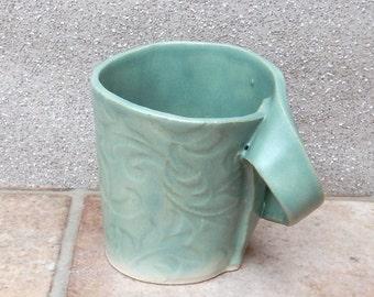 Coffee mug tea cup handmade in textured stoneware pottery ceramic
