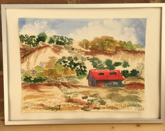 Original watercolor desert landscape painting