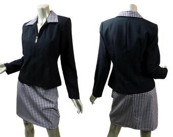 Vintage Skirt Suit Vintage 1980s ~ Black and White Houndstooth ~ Size Medium ~ Zip Jacket Pencil Skirt Separates Brioche