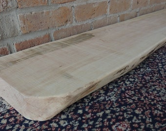 "Live Edge Maple Fireplace Mantel or Mantle Shelf 70"" x 10"" x 2-3/8"" - Old Growth Maple Mantle Shelf - Fast Shipping"