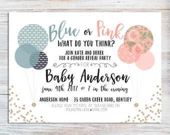 Blue Or Pink Gender Reveal Invitation - Balloons