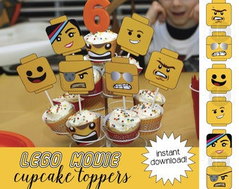 Lego Movie inspired cupcake toppers, printable file, Instant Digital Download