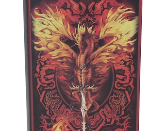 Flame Blade Journal, Notebook, Red Dragon  Notebook, Game night, Dragon  Stationary, Spell Book, Magic, Journal, Dungeons and Dragons