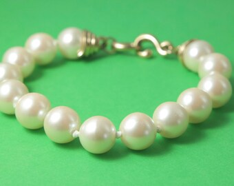 Vintage/ estate 1980s, gold tone and large knotted cream costume pearl bracelet - jewelry jewellery, wedding bridal maid