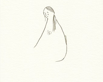 ORIGINAL pencil drawing, pencil illustration, original pencil sketch, original postcard art, sad illustration, grief art, feelings, emotions