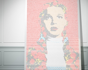 Dorothy Gale. Wizard Of Oz Typographic Movie Poster Script Print (red)