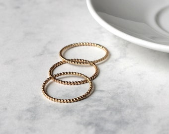 Dotted Stacking Ring Set - Gold Fill - Skinny | bubble stacking rings | bubble rings | dot stacker rings | gold stacking ring | midi ring