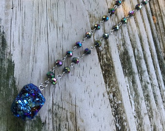 Blue Titanium Druzy + Gemstone Chain