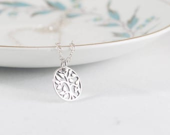 Sterling Silver Necklace, Layering Necklace, Tree Necklace, Silver Layering Necklace, Boho Tree Necklace, Silver Tree Necklace