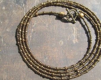 RITMO custom made waist beads, bronze tone seed beads, Fair Trade, read item details and leave size