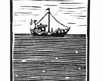 LINOCUT print - Fishing boat on the ocean - 8x10 black minimal insect