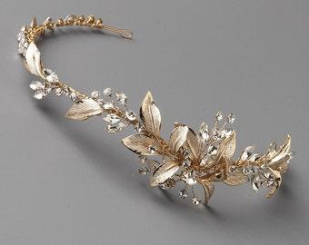 Gold Floral Headband, Gold Wedding Headband, Floral Headband Wedding, Flower Headband, Floral Bridal Headband, Gold Headpiece ~TI-3282