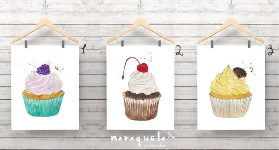 DISCOUNT SET Cupcake Collection Watercolor - 8 different illustrations - Home decor, woman gift, kitchen room wall, dining, cuisine, print
