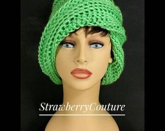 Crochet Hat Womens Hat Trendy, Womens Crochet Hat, Crochet Beanie Hat, Limelight Green Hat, African Hat, Ombretta Beanie Hat, Unique Gift