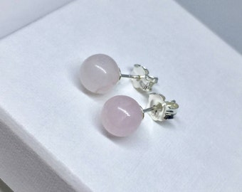Rose Quartz Studs Earrings, Rose Quartz Earrings, Gemstone Earrings, Gemstone Stud Earrings