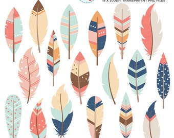 Feathers Clipart Set - clip art set of feathers, feather, tribal, assorted feathers - personal use, small commercial use, instant download
