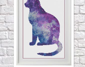 Galaxy Cat Counted Cross Stitch Pattern