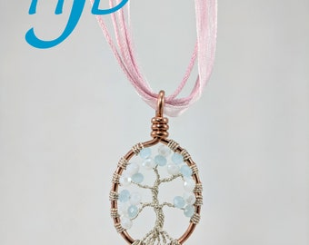 Small White and Ice-Blue Glass and Silver-Colored Copper Oval Tree-of-Life Necklace