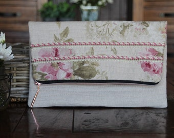 Pink Roses Fold Over Clutch Purse