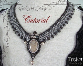 Tutorial for beadwoven necklace 'Lady Mary' - PDF beading pattern - DIY