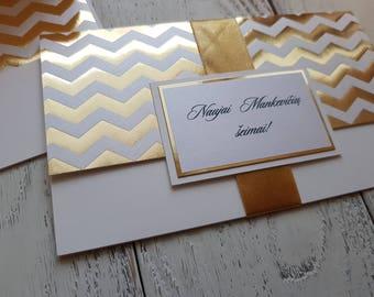 Money envelope, envelope for money gift, gold chevron, birthday gift, wedding gift