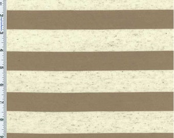 Beige/Oatmeal Flecked Striped Jersey Knit, Fabric By The Yard