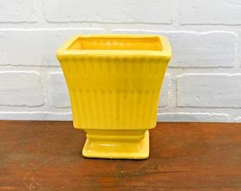 Vintage Yellow Pedestal Planter, Cottage Decor, Porch, Patio, Sunroom, Mid Century Yellow Ceramic Planter