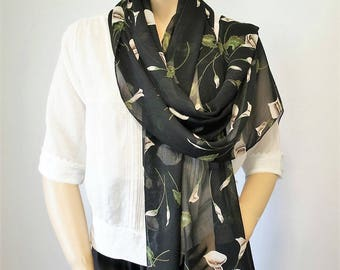 Vintage Scarf Calla Lily Scarf Black Long Wrap Rectangle Scarf Elegant Neck Scarf Head Scarf