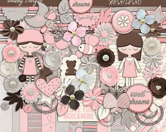 30%Off Sweet Dreams Digital Scrapbooking Kit,Pink Girl Cliparts