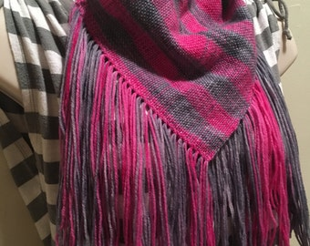 Handwoven Cowl, Pink and Grey Scarf, Circle Scarf, Neon Pink Plaid Stripe with Snap Buttons Lightweight Warm Wool Soft Casual Elegant TD0009
