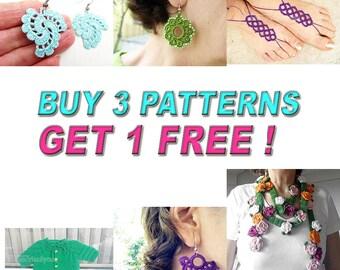 Buy 3  Patterns, Get 1 More Free Pattern, Crochet Patterns, Crocheted Earrings,  Crochet  Jewelry, Crochet Wrap Scarf, Knit baby Cardigan