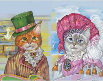 Cat Charming and his Romantic Cat Lady - 2 Art Prints - Thai Cat and Maine Coon - French Prints - Funny Pet Portraits by Maria Pishvanova