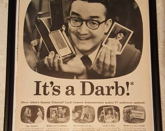 Framed Vintage Ad! It's a Darb! Steve Allen Polaroid Land Camera 1957
