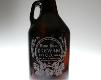 Engraved HomeBrew Growler  Rustic hops and wheat Design. Homebrew, fathers day gift,custom pint,engraved pint, custom Beer Glass