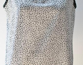 Vintage Tank Top, Loose Blouse, Animal Print, Minimal Blouse, white blouse, black blouse, summer top, sleeveless blouse
