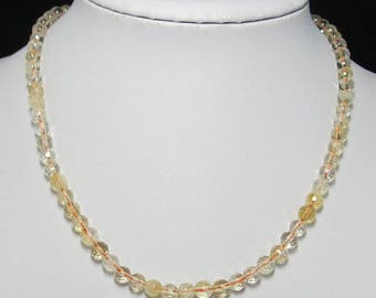 Citrine 6mm faceted and 925 Silver 18 inch Necklace