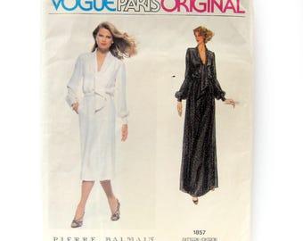1970s Vintage Vogue Dress Pattern / Pierre Balmain Pattern / Tie Neck Dress / Evening Gown / Vogue Paris Original 1857 / Size 12 UNCUT FF