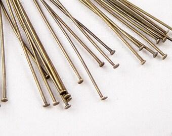 CLEARANCE Bronze Head Pins 50 Headpin Antique Bronze 3-3/8 inch (80mm) Long 21 gauge NF (1043pin80z1)os