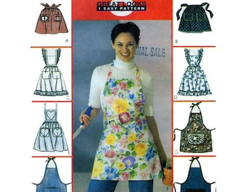 McCalls 2947, Halter Style, Apron, Sewing Pattern, Short Bib Style, Waist Tie, Pinafore Apron, ONE SIZE, BBQ, Baking Apron, Mother's Day