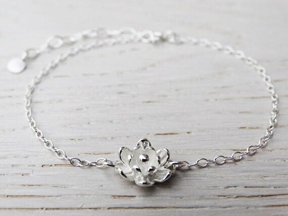 Silver Flower Bracelet, Sterling Silver