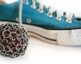 The Original Indestructible Hacky Sack Stainless Steel  Chainmaille Filled With Recycled Leather