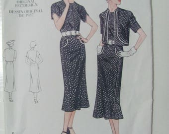 Vintage Vogue 2560 1937 Reprint Sewing Pattern Size 12-14-16 2001