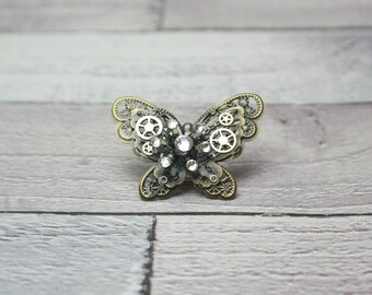 Butterfly Hat Pin, Steampunk Butterfly, Butterfly Jewellery, Steampunk Brooch, Steampunk Accessory, Mechanical Jewellery