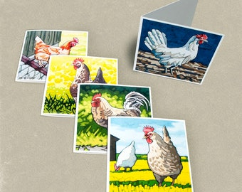 Chicken Greeting Cards - Set of 5