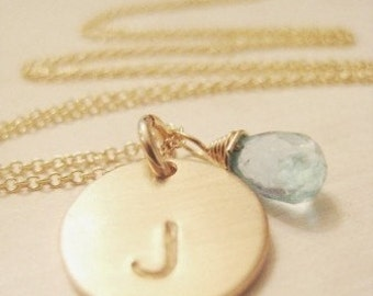SIMPLE GOLD INITIAL - with Blue Apatite Briolette
