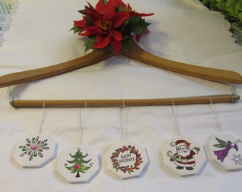 Christmas Ornaments Ceramic Tile Set of 5 Snowflake Christmas Tree Wreath Santa Angel Holiday Decor Tree Decor Country Decor One of a Kind